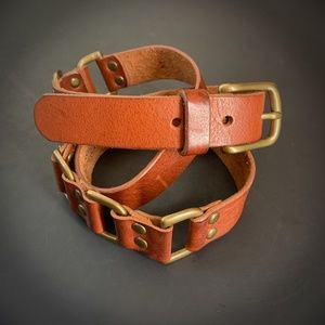 J Crew Brown Italian Harness Leather Belt